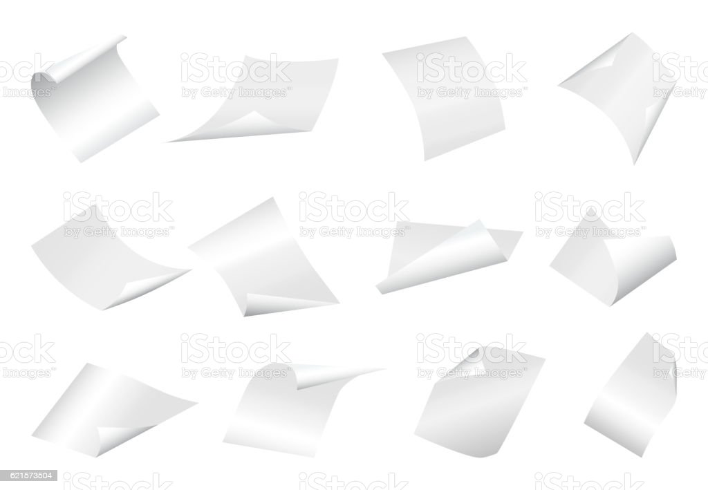 Flying blank paper sheets with curved corner on white background vector art illustration