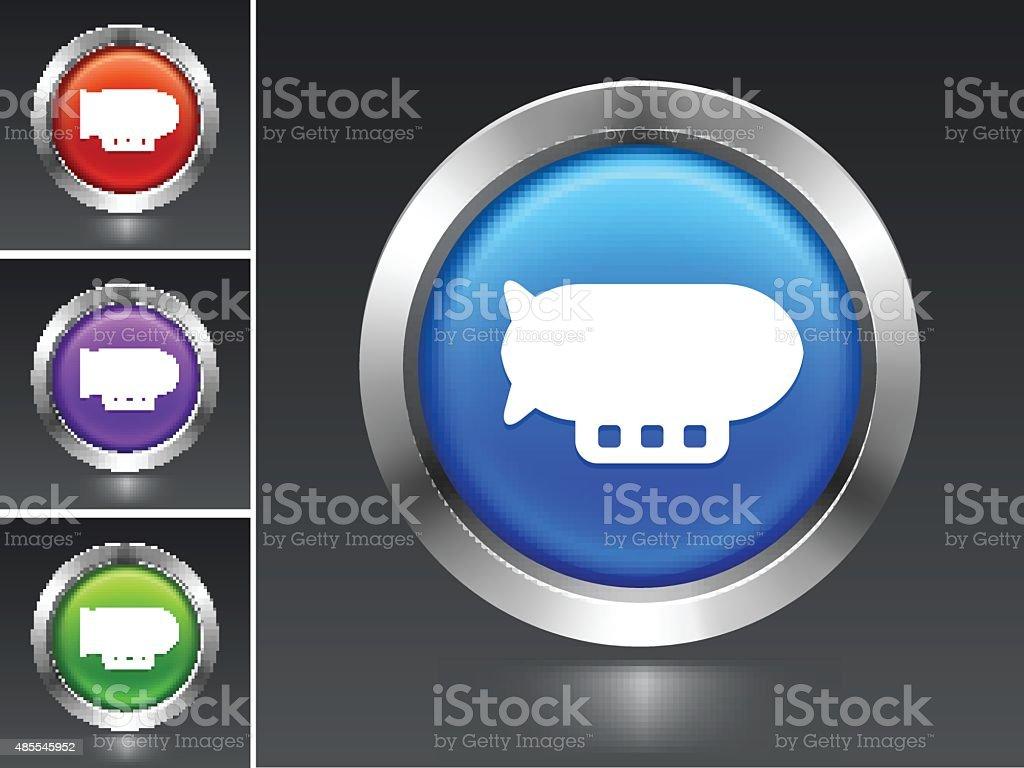 Flying Blimp on Blue Round Button vector art illustration