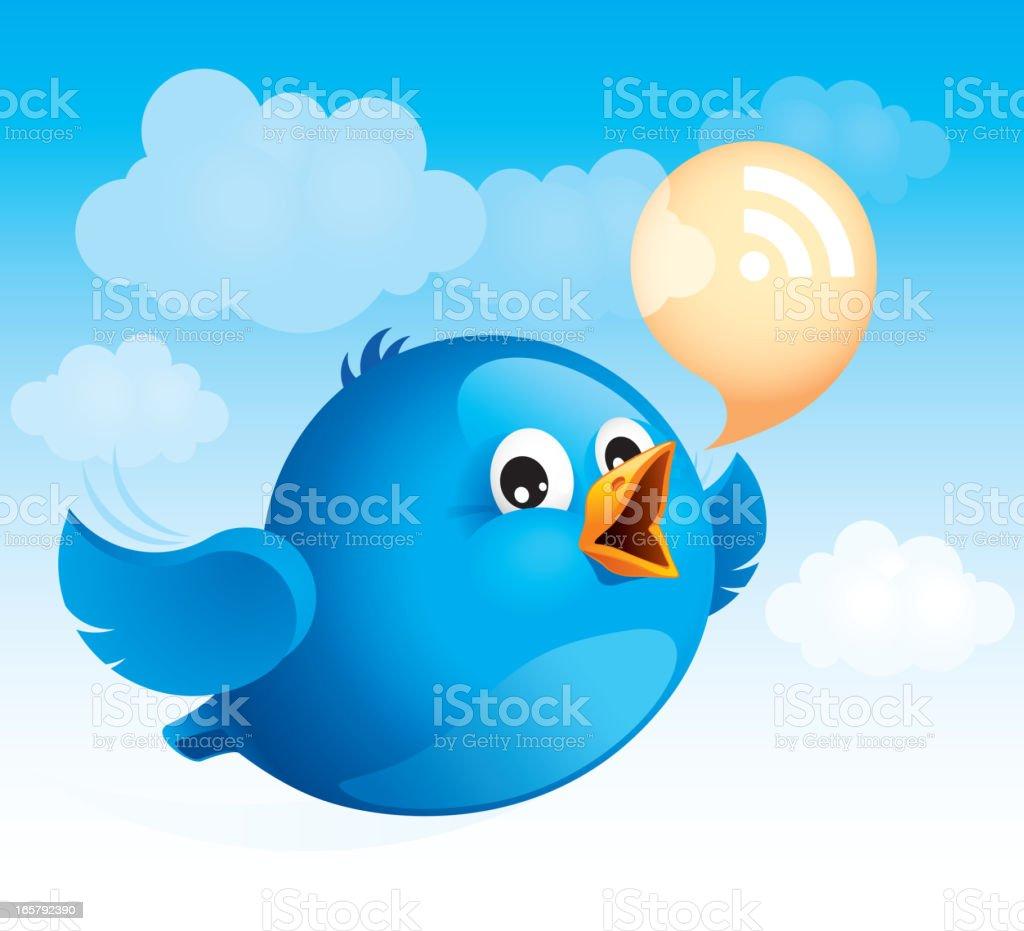 Flying blue bird royalty-free stock vector art