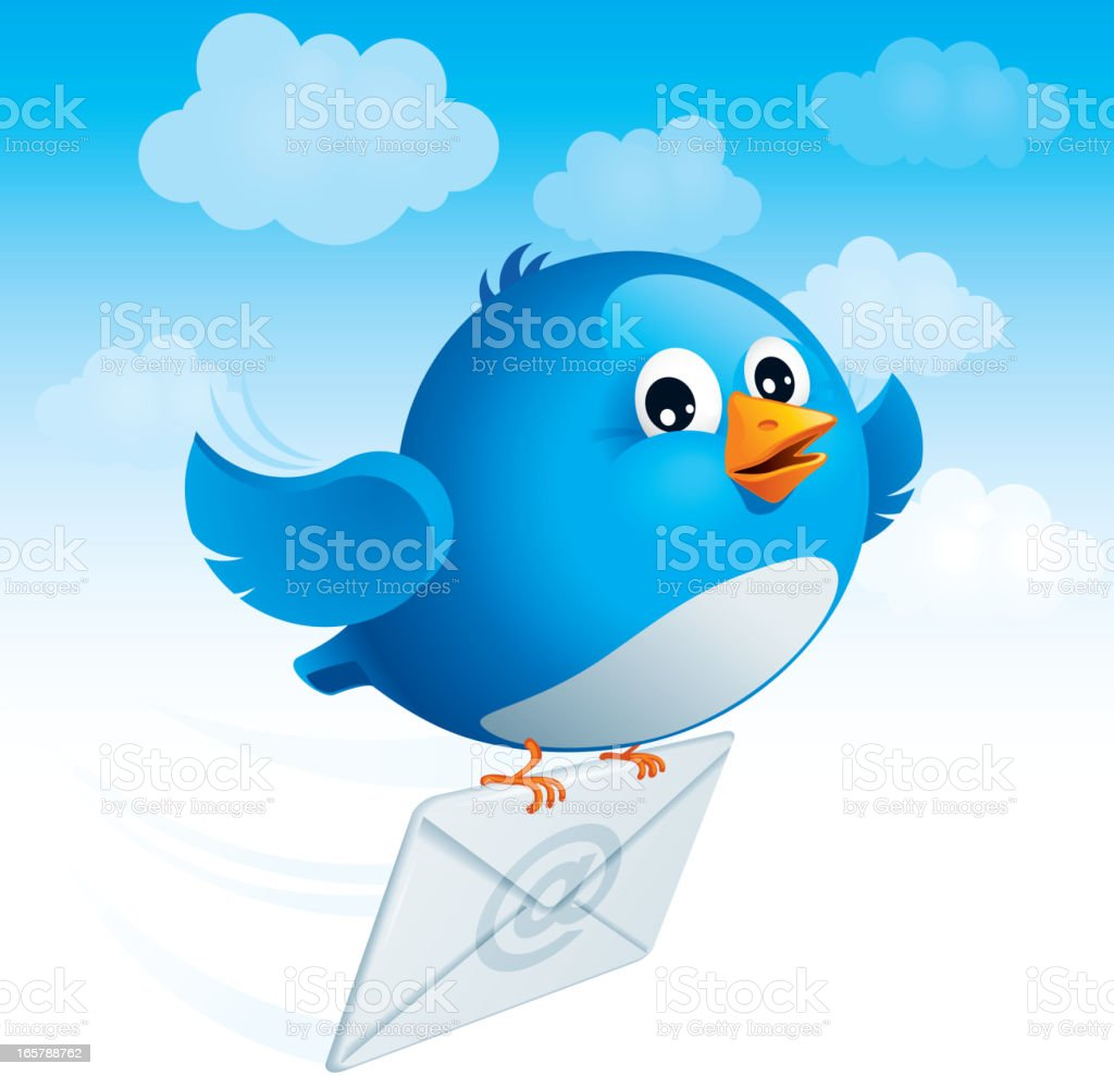 Flying blue bird with envelope royalty-free stock vector art