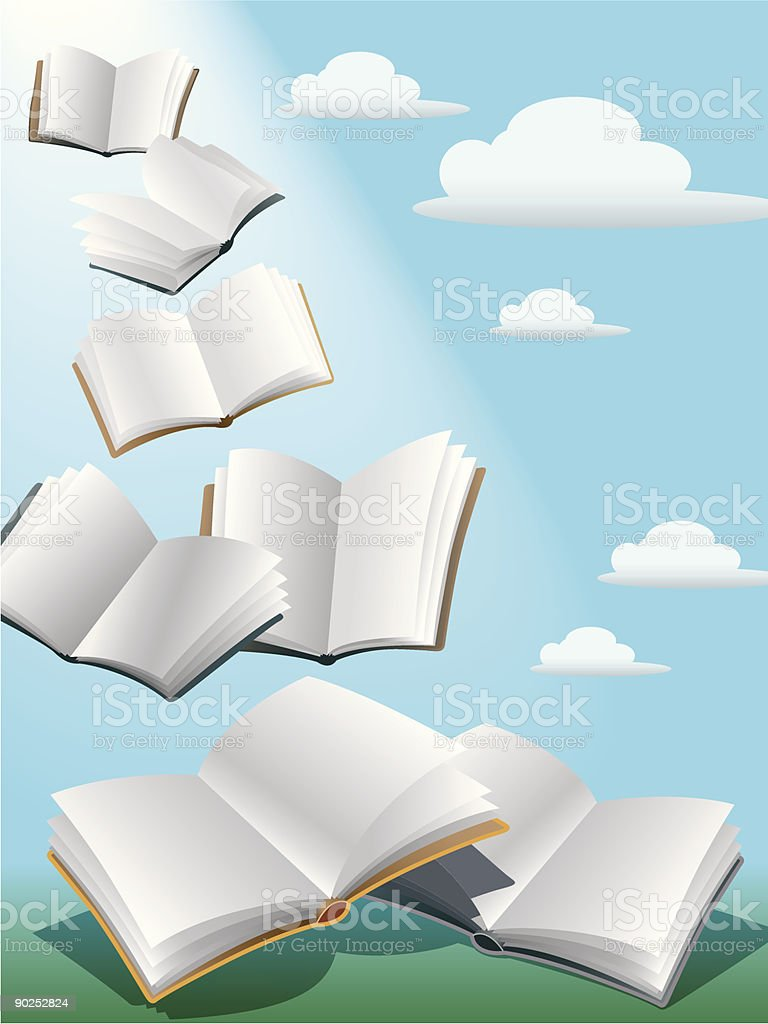 Flying books vector art illustration