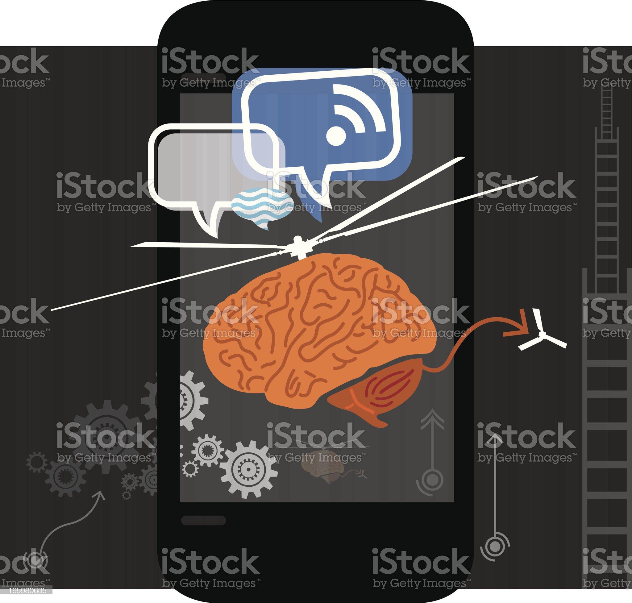 Flying Brain royalty-free stock vector art