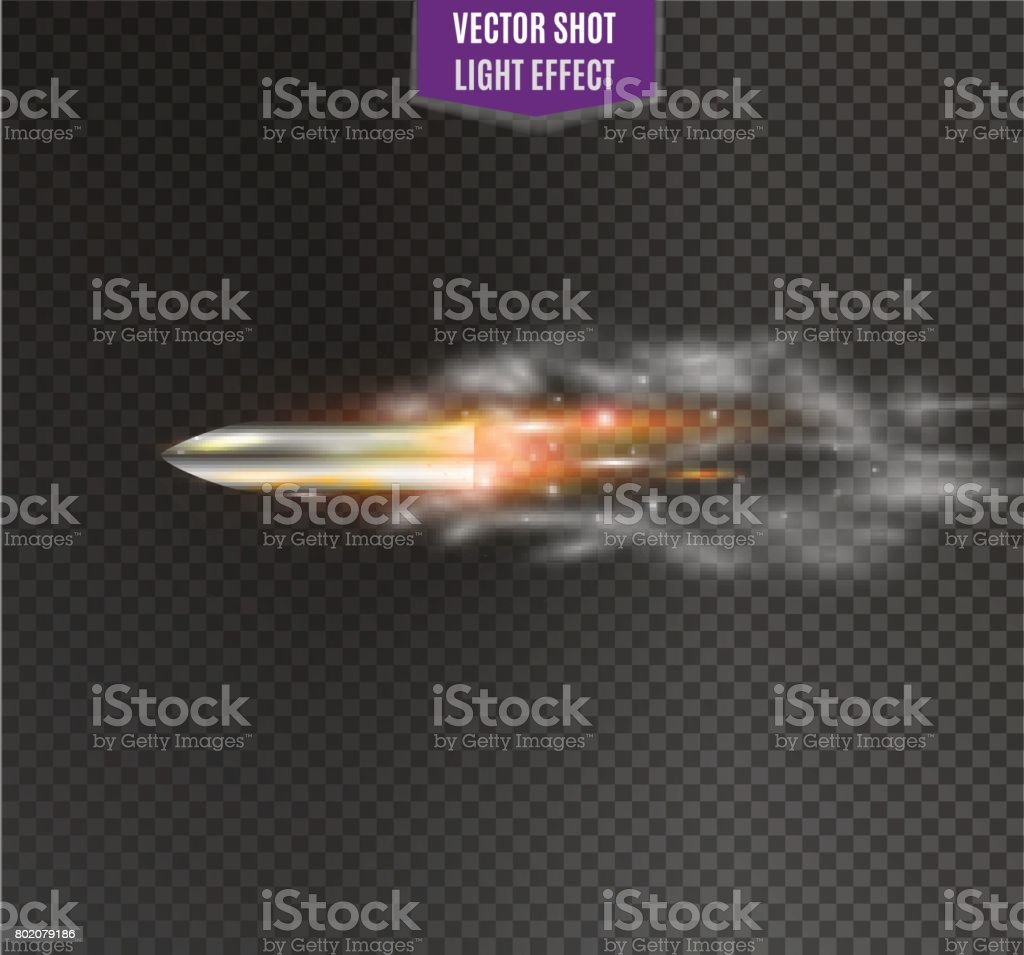flying bullet.the movement of a bullet on a transparent background vector art illustration