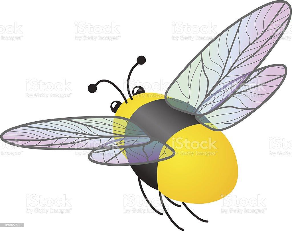 Flying Bumble Bee vector art illustration