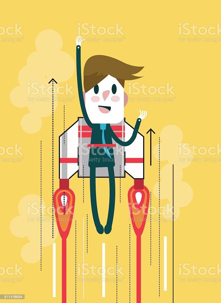 Flying businessman with jetpack. Start up and Leadership concept vector art illustration
