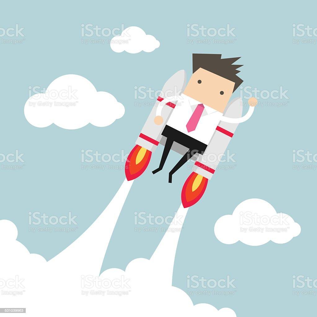 Flying businessman with jetpack vector art illustration