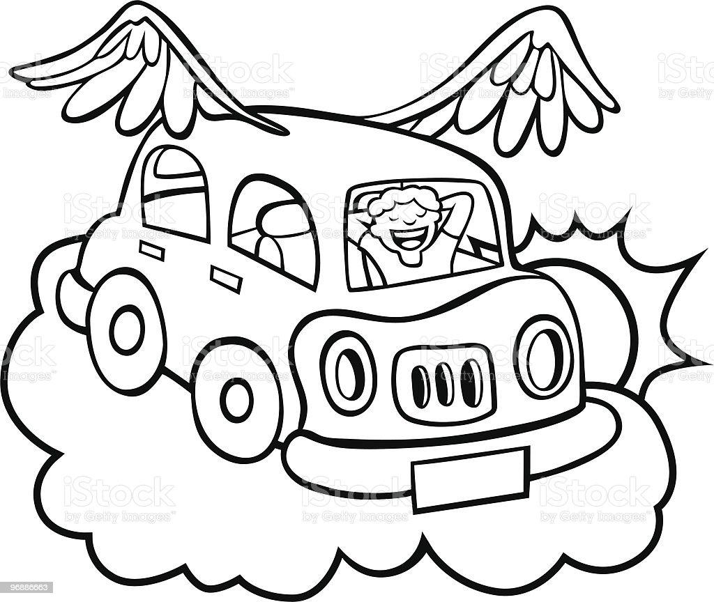 Flying Car Line Art royalty-free stock vector art