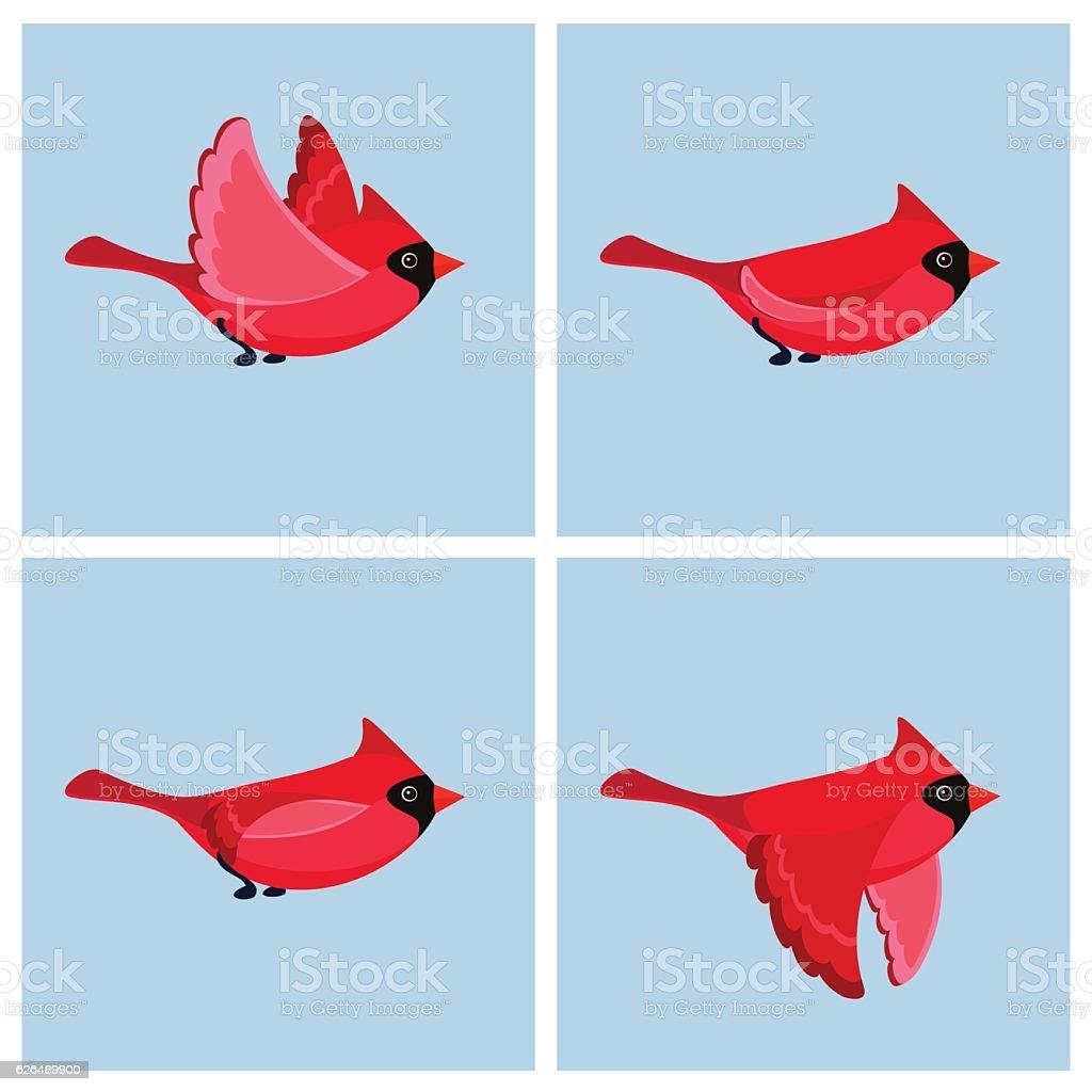 Flying cardinal animation sprite vector art illustration