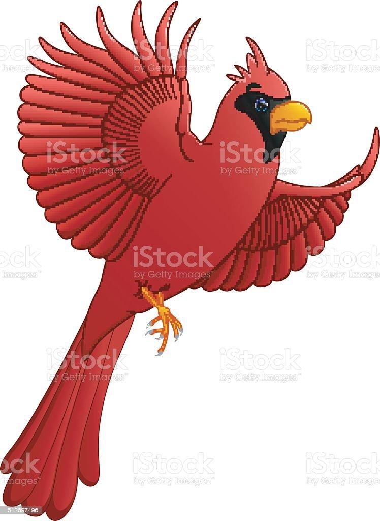 flying cardinal cartoon vector art illustration
