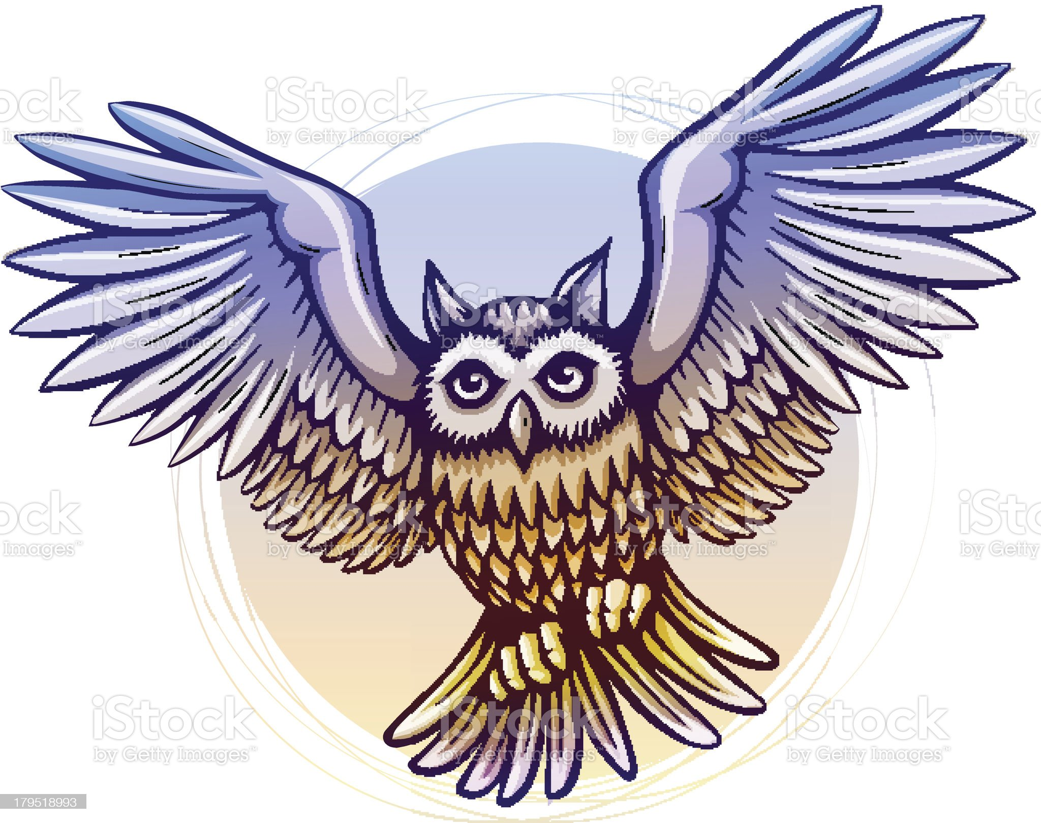 flying cartoon owl with color wings royalty-free stock vector art