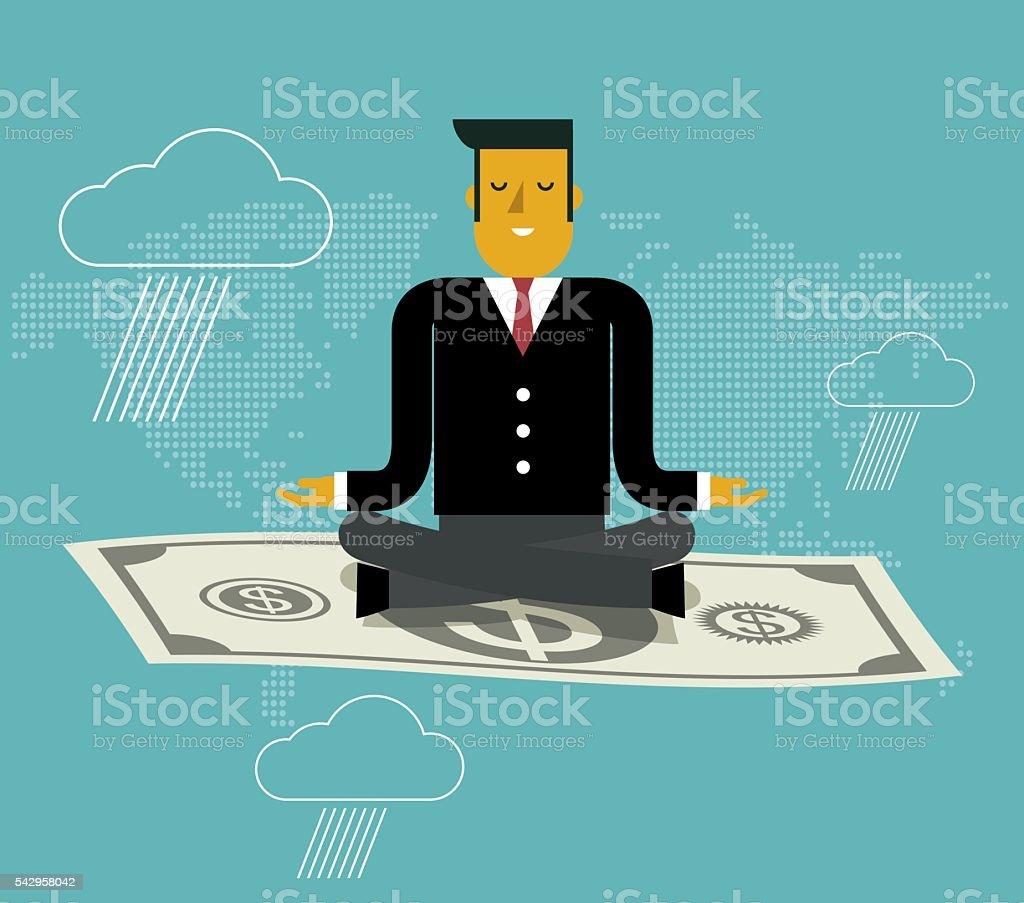 Flying cash vector art illustration