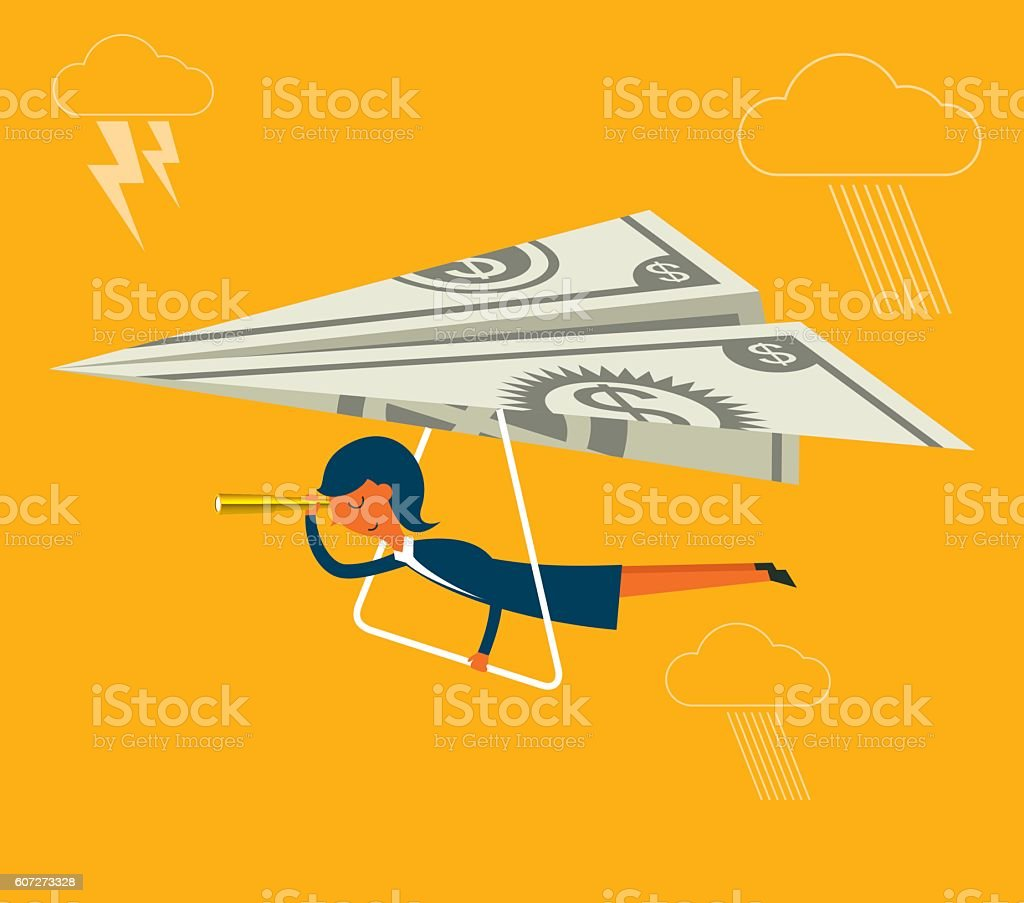 Flying cash vector art illustration