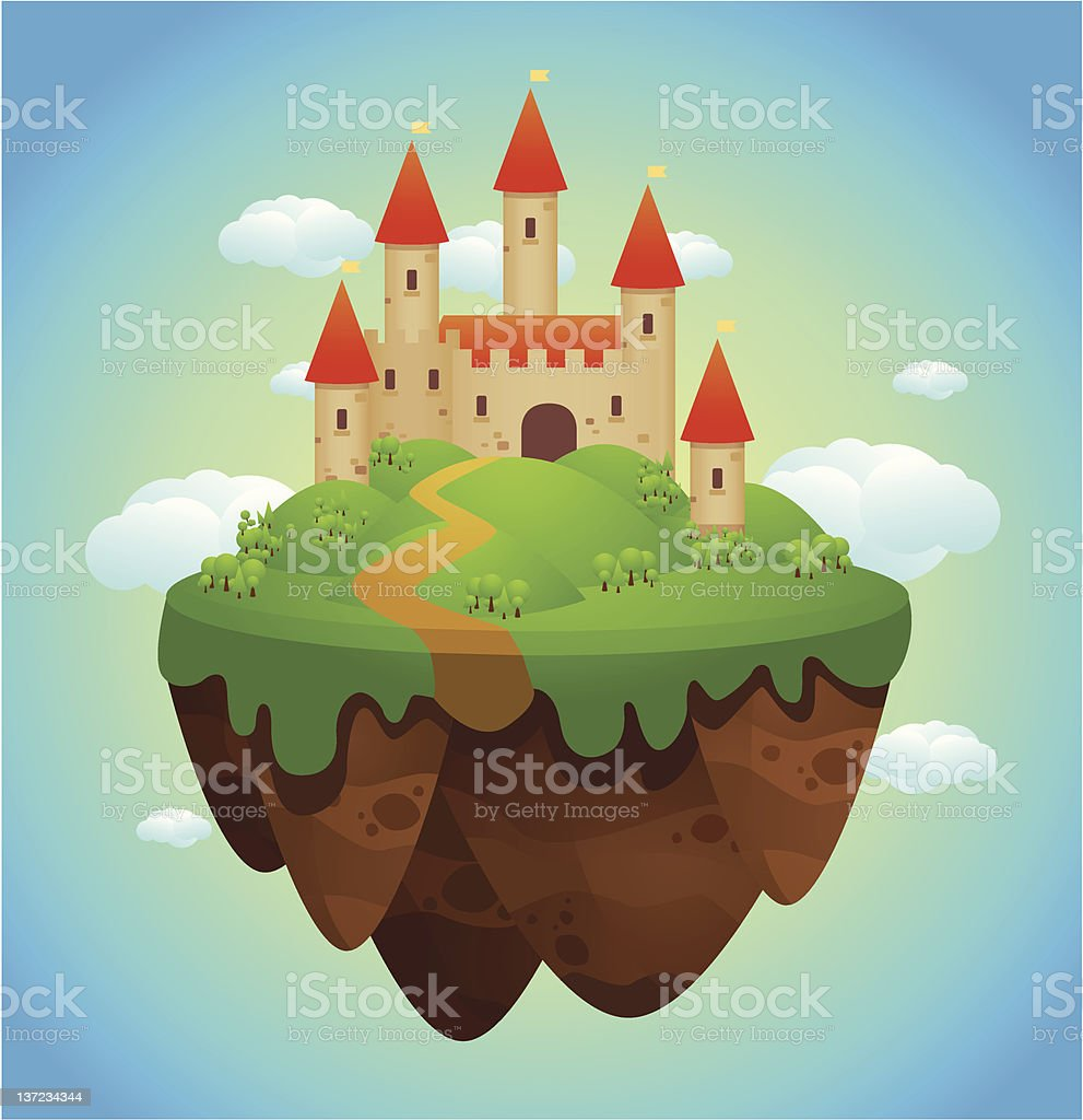 Flying Castle vector art illustration