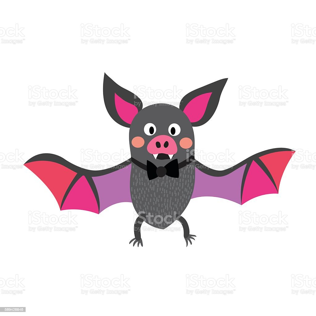Flying colorful Bat with bow cartoon character vector illustration. vector art illustration