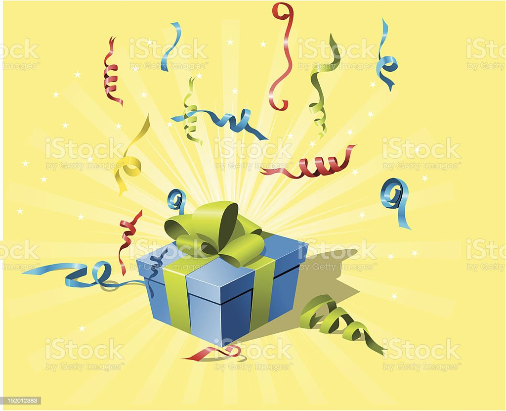 flying confetti and gift box royalty-free stock vector art
