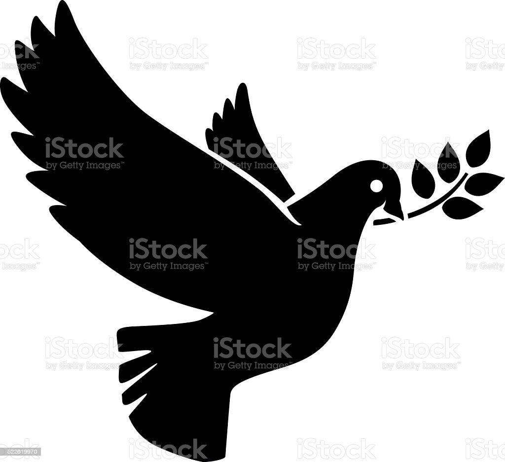 Flying dove with olive twig icon vector art illustration