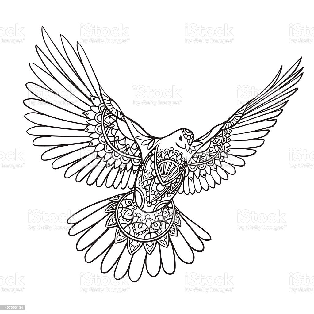 Flying dove with spread wings in ethnic patterns vector art illustration