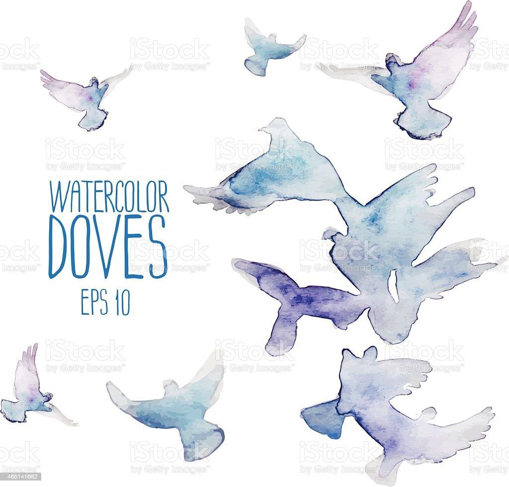Flying doves vector art illustration
