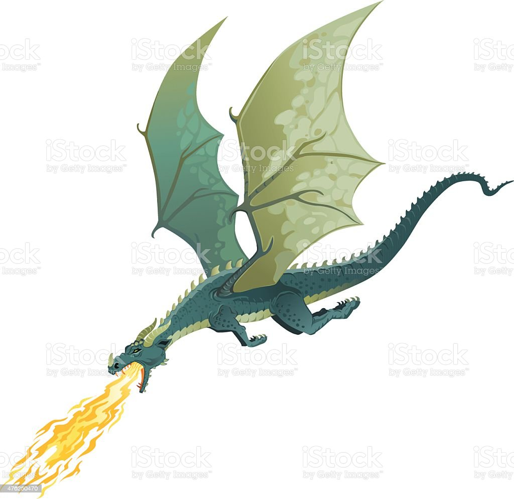 Flying Dragon Breathing Fire - Isolated vector art illustration