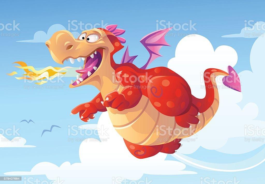 Flying Dragon Breathing Fire vector art illustration