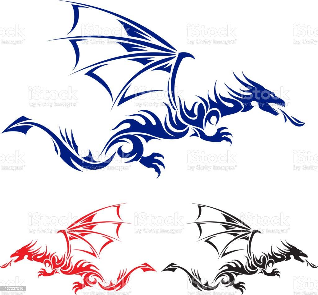 Flying Dragon vector art illustration