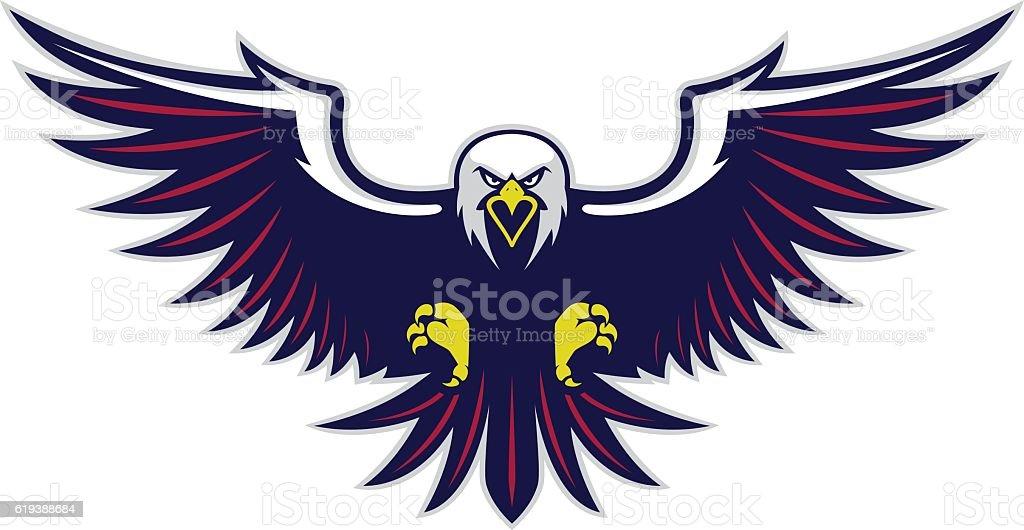 Flying eagle mascot vector art illustration