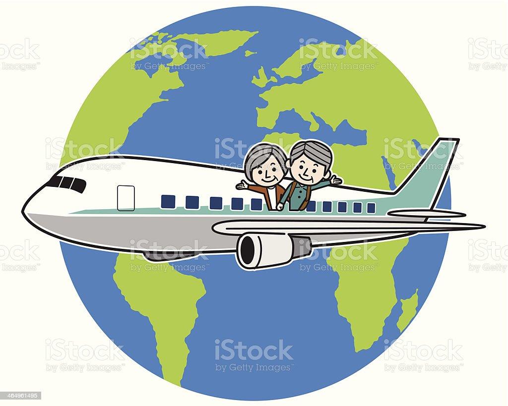 Flying elderly couple around the world royalty-free stock vector art