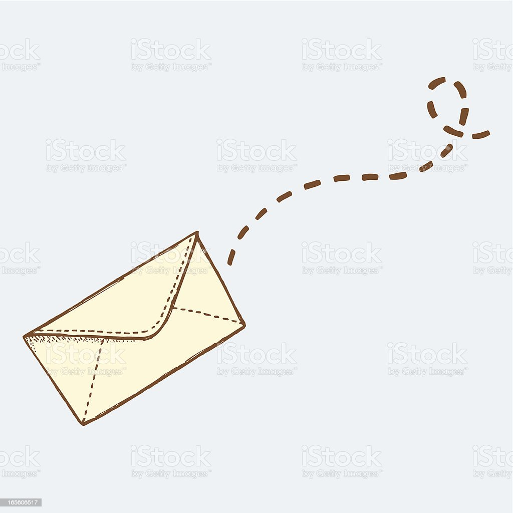 Flying envelope royalty-free stock vector art