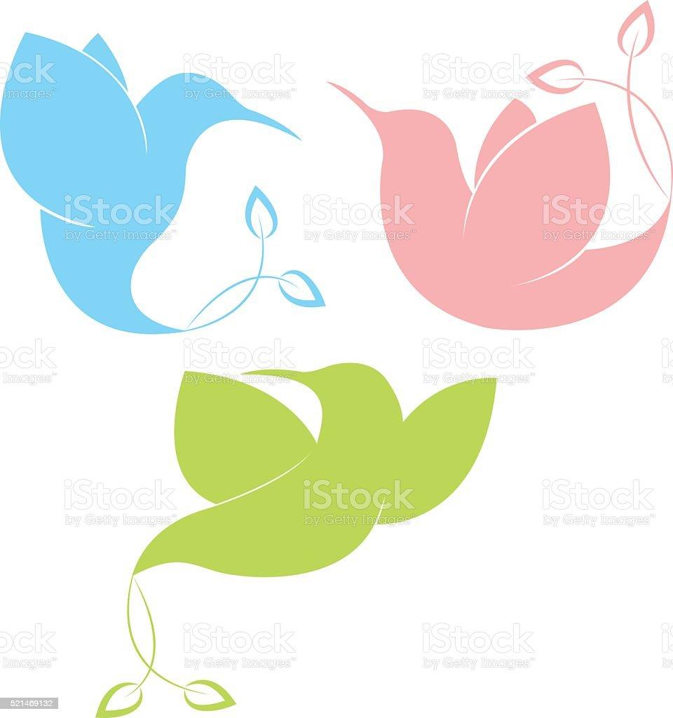 Flying exotic birds vector art illustration