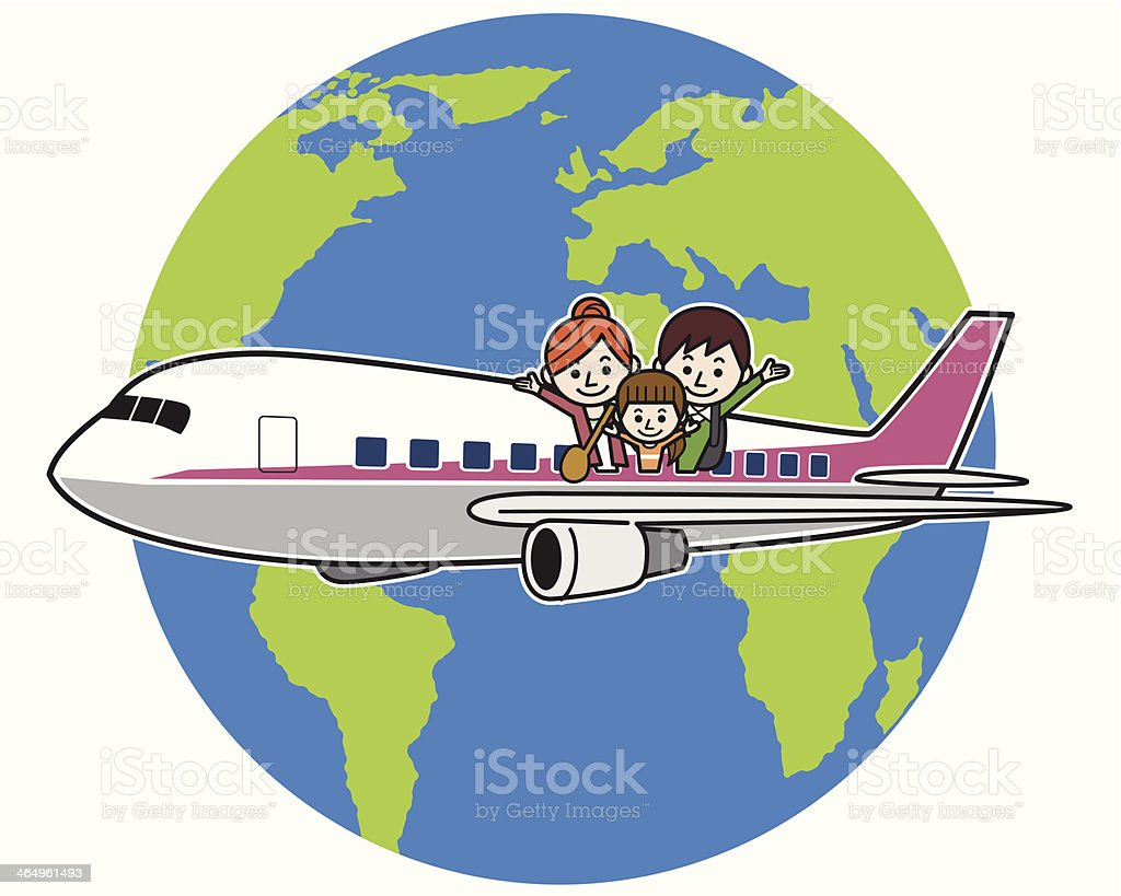 Flying family around the world royalty-free stock vector art