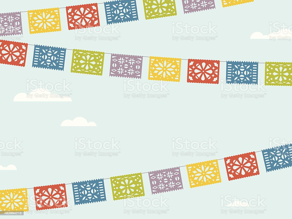 Flying Fiesta Flags vector art illustration