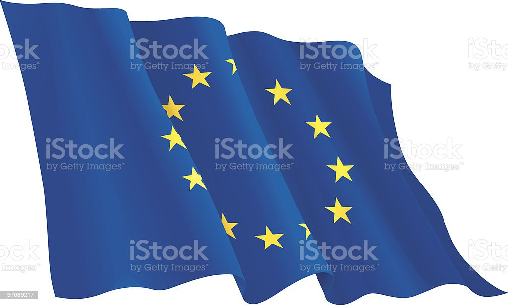 A flying flag of the European Union royalty-free stock vector art
