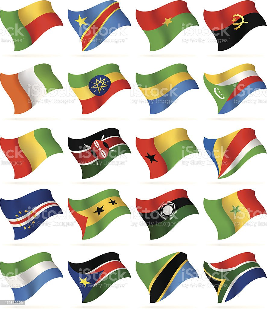 Flying Flags Collection - Africa royalty-free stock vector art
