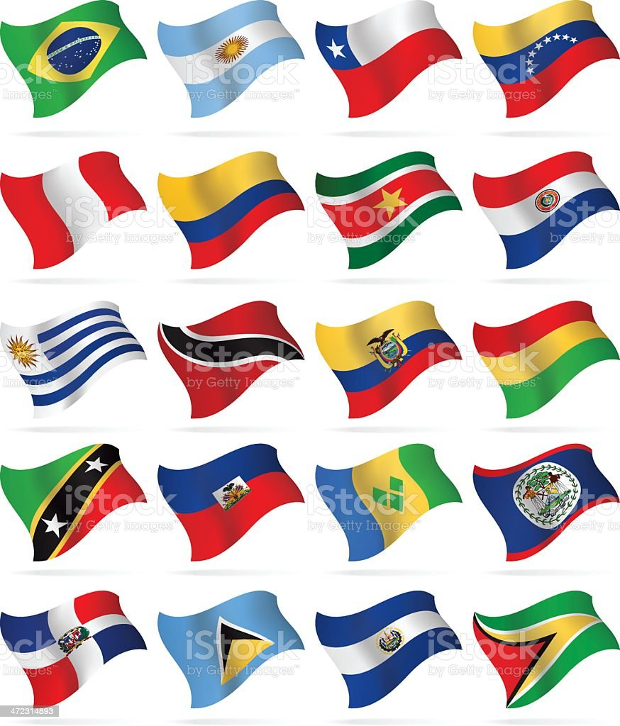 Flying Flags - South and Central America vector art illustration