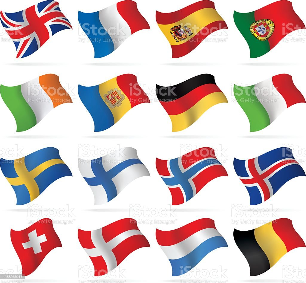 Flying Flags - Western and Nothern Europe royalty-free stock vector art