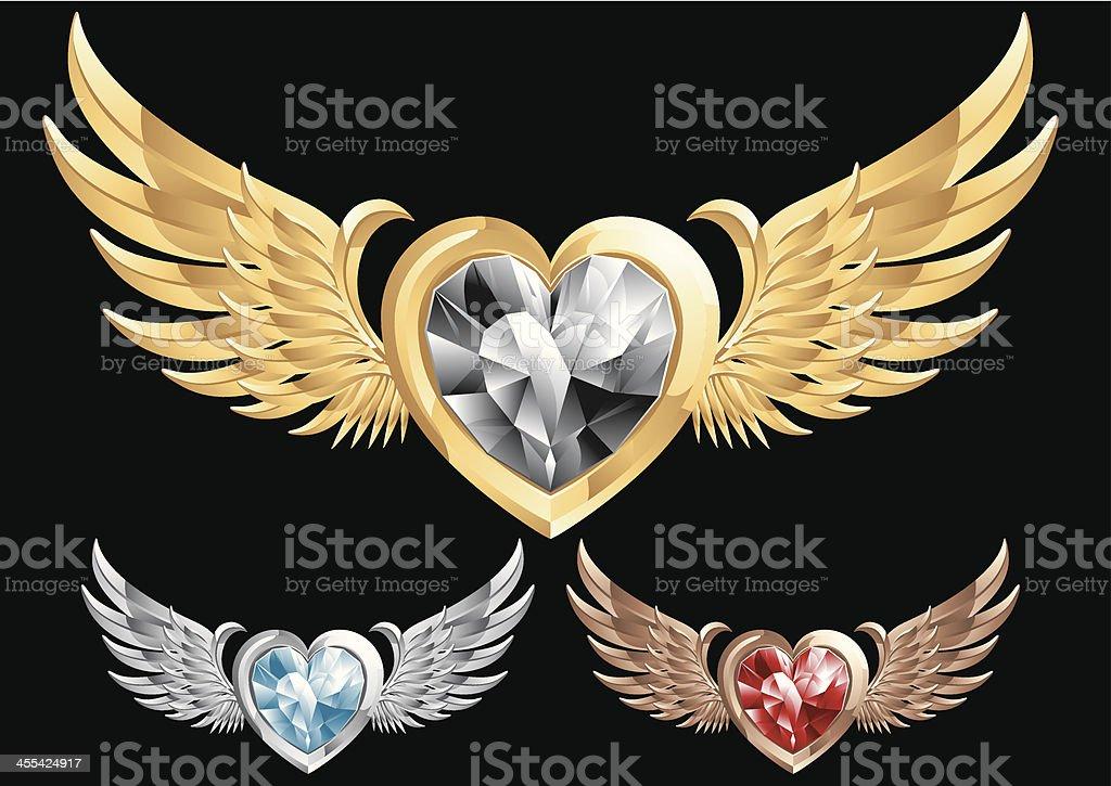 Flying Heart Shape Gem royalty-free stock vector art