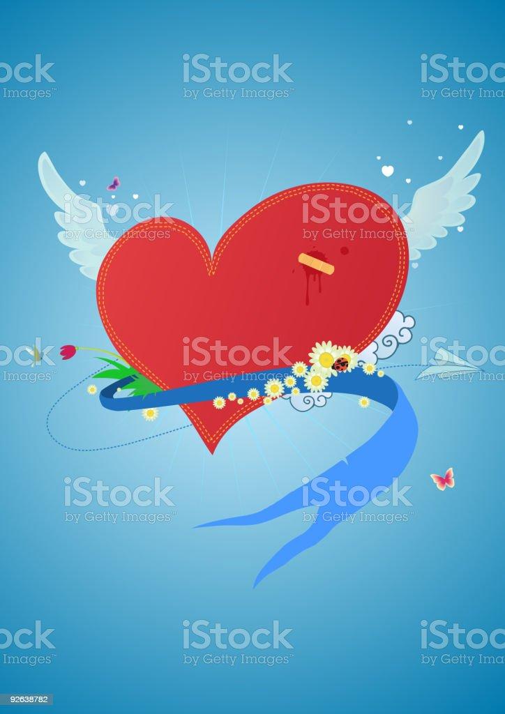 flying  heart royalty-free stock vector art