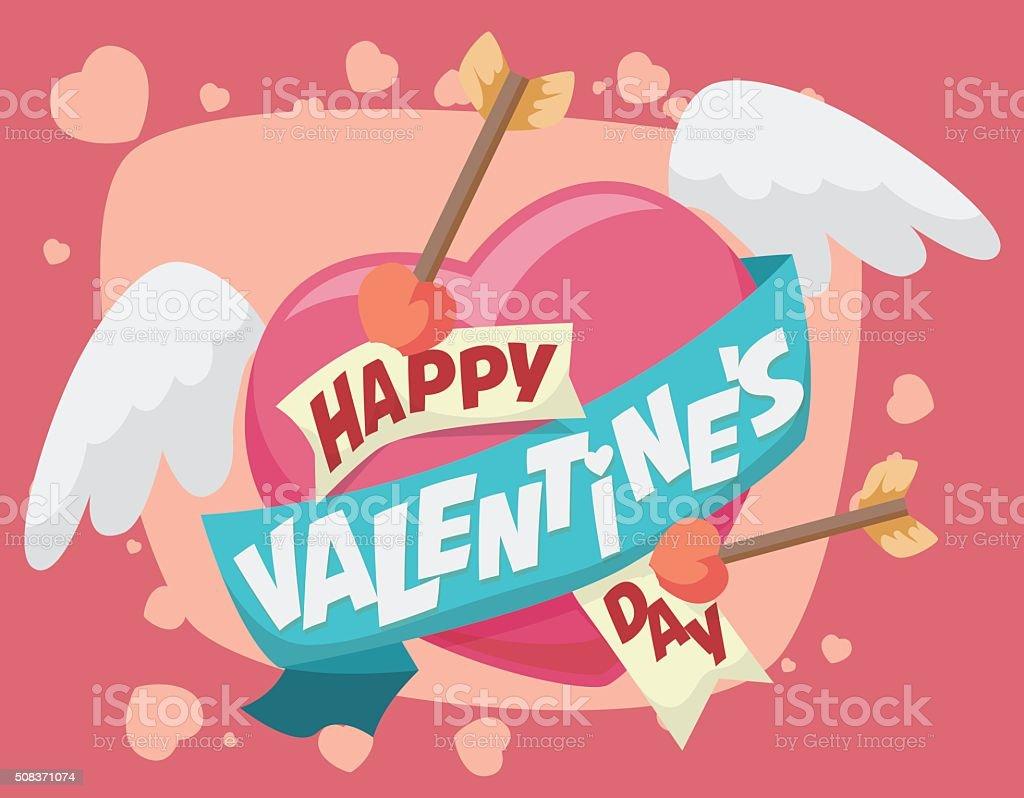 Fliegende Herzen Mit Pfeilen Und Valentinstag Grußkarte Nachricht  Lizenzfreies Vektor Illustration