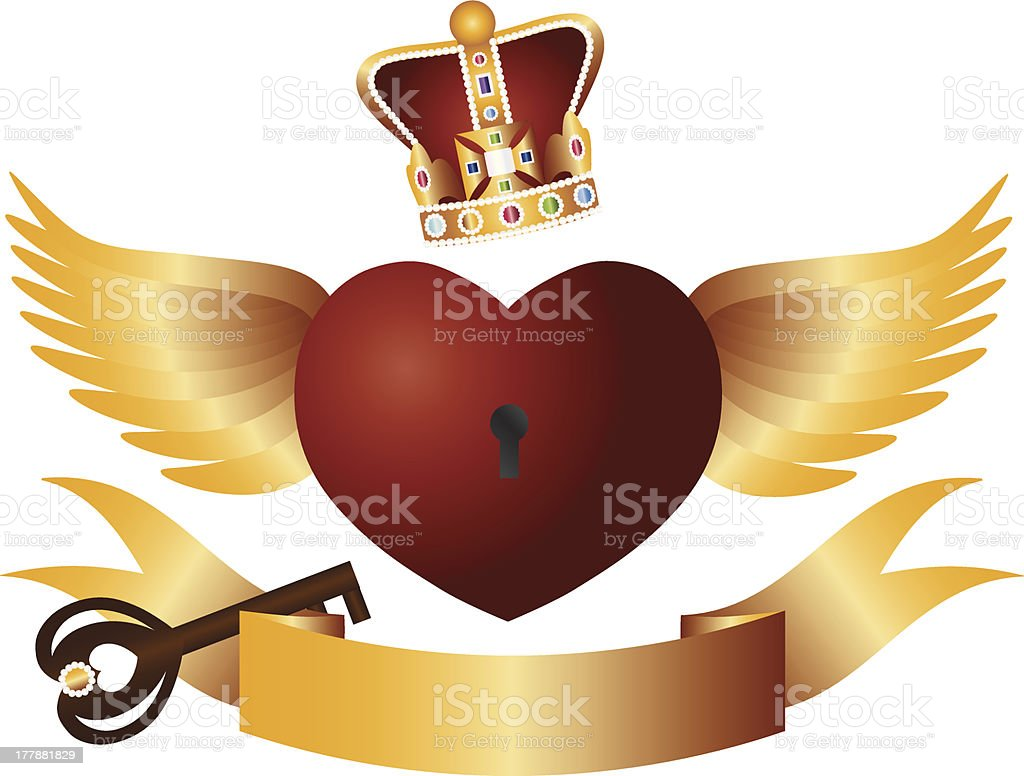 Flying Heart with Crown Jewels and Key Vector Illustration royalty-free stock vector art