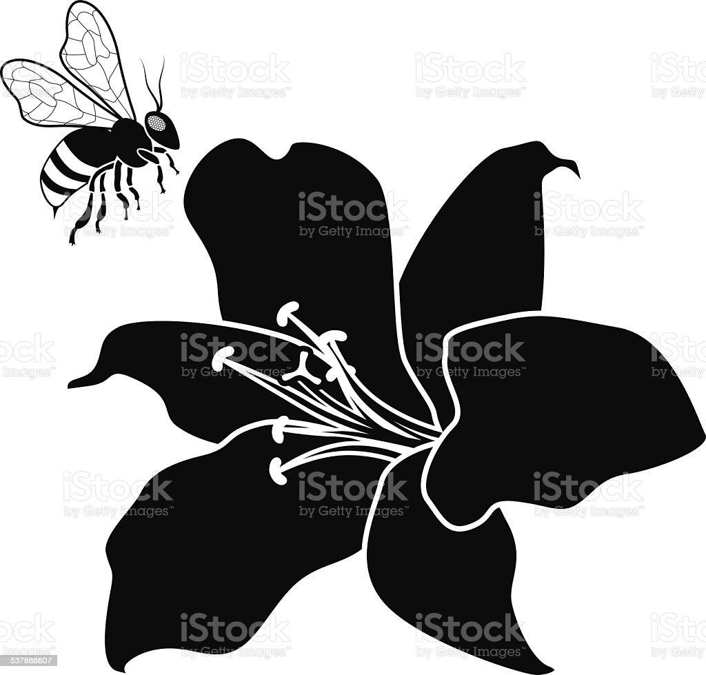 volant miel abeille et fleur de lys en noir et blanc stock vecteur