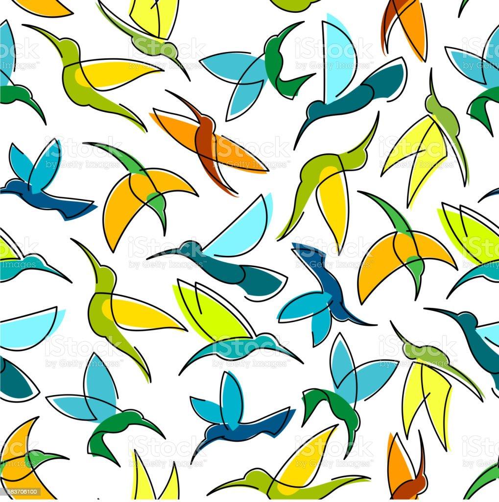 Flying hummingbird birds seamless pattern vector art illustration