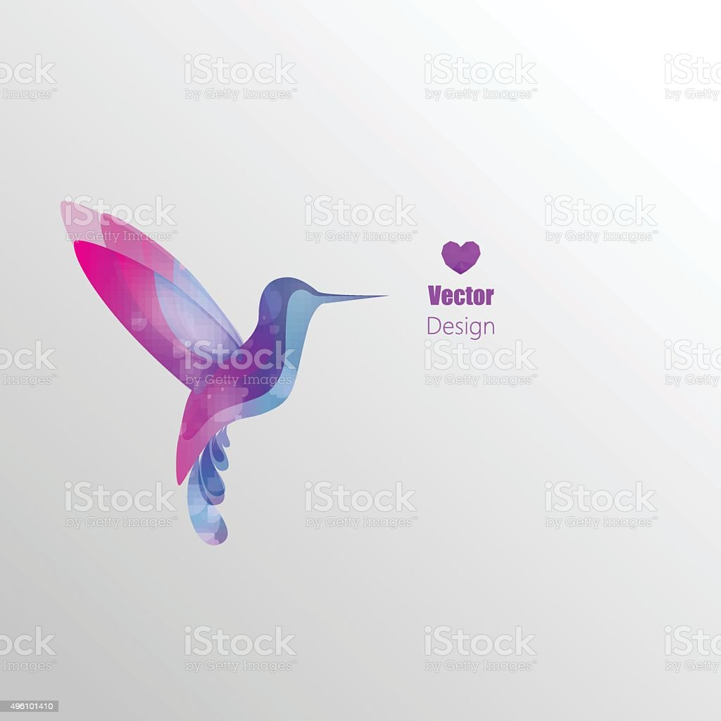 Flying hummingbird, Design vector art illustration