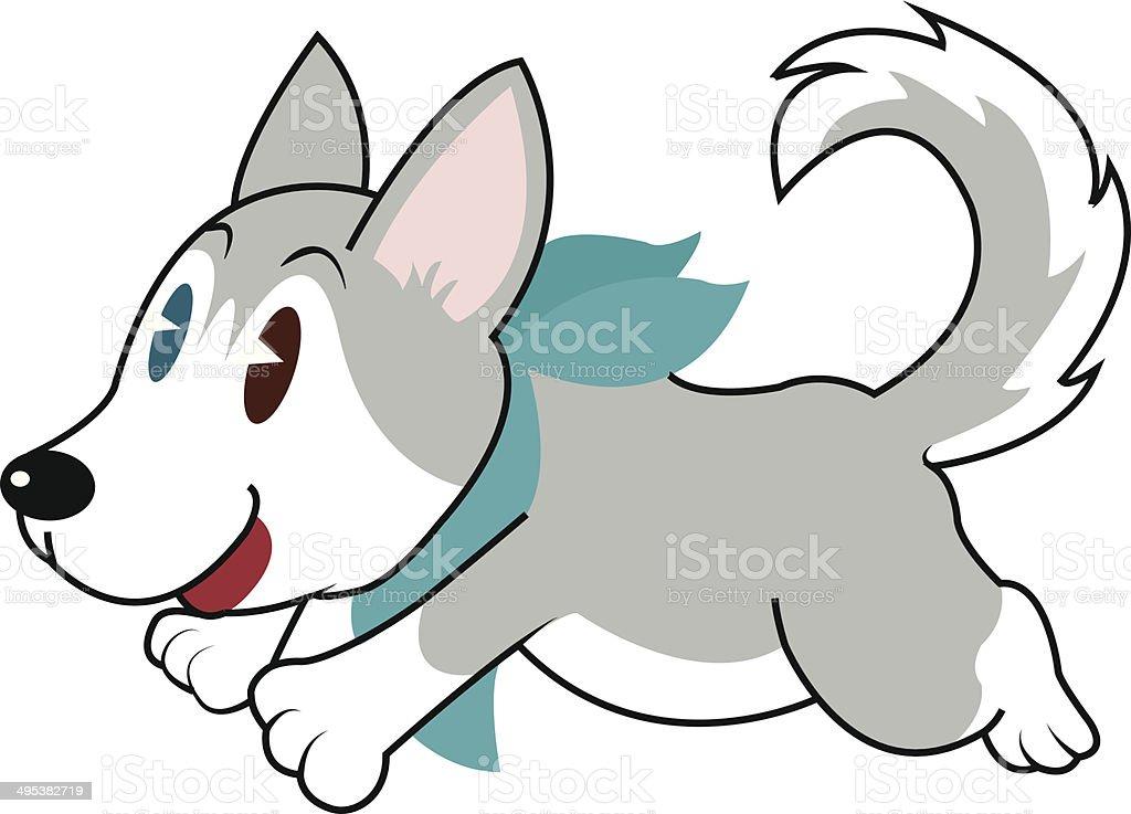 Volare con cani Husky carattere illustrazione royalty-free
