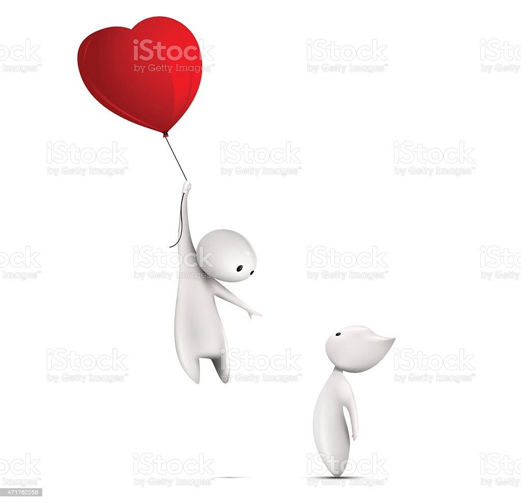 Flying in a balloon vector art illustration