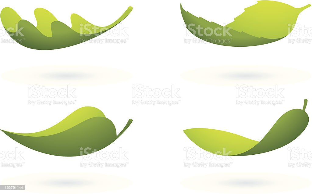 Flying leafs vector art illustration