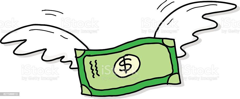 Flying Money Dollar Inflation vector art illustration