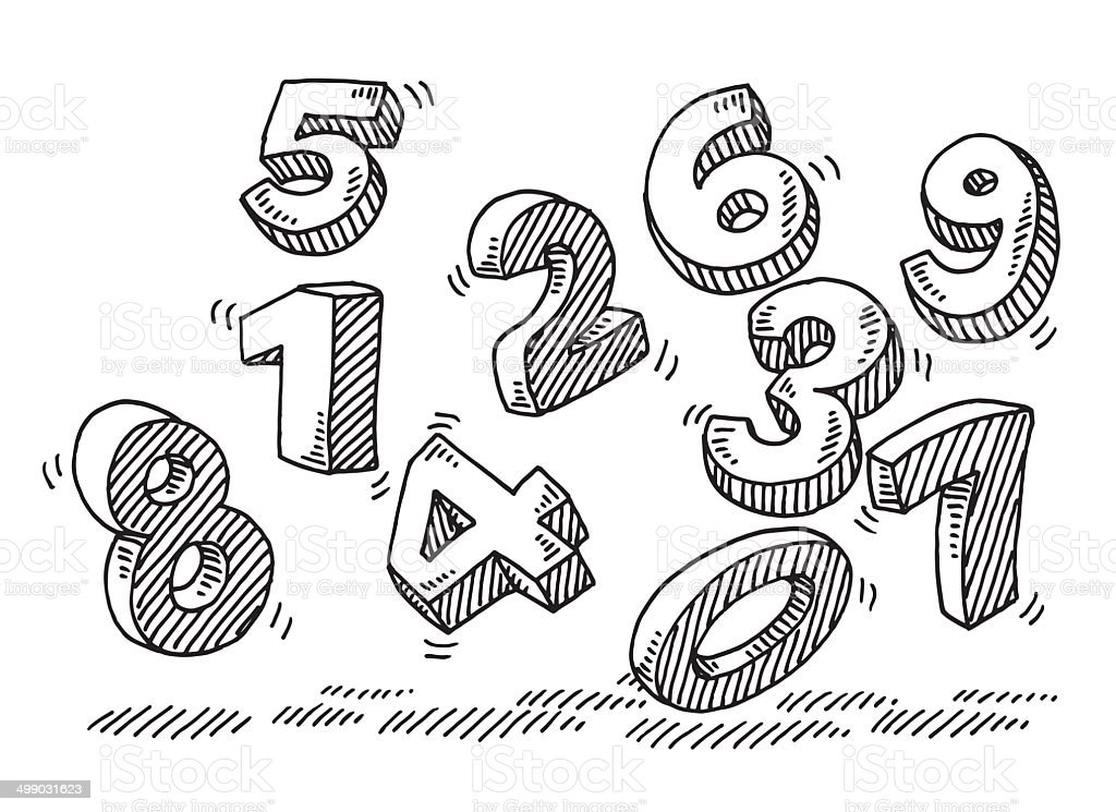 Flying Numbers Drawing vector art illustration