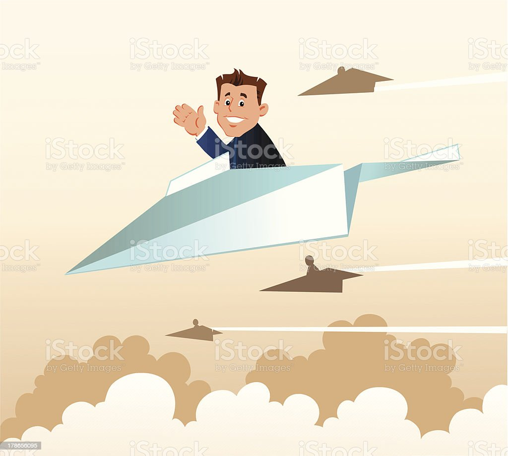 Flying on Paper Plane royalty-free stock vector art