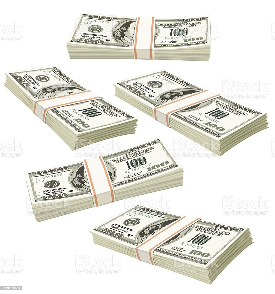 flying packs of dollars money isolated royalty-free stock vector art