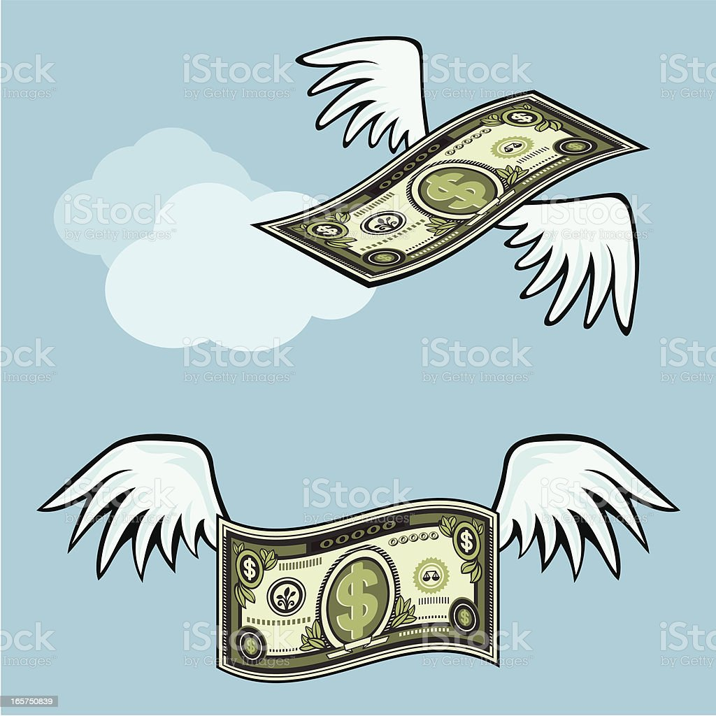 flying paper money vector art illustration